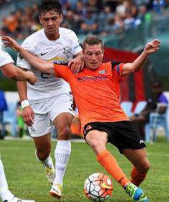 Tasman United player Sam Ayers competes for the ball during last weekend's 1-0 win over Hamilton Wanderers.
