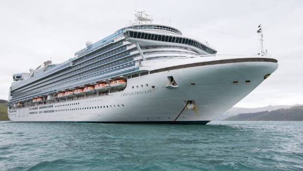 Cruise ship Emerald Princess berthed in Akaroa Harbour earlier this year.