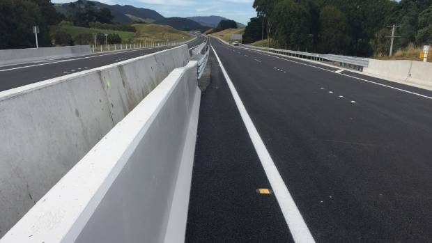 The road ahead - looking south down the first section of the Kapiti expressway, from the new bridge over the Waikanae River.
