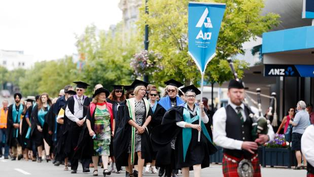 Students from Ara celebrate their graduation with a parade down Timaru's Stafford Street on Thursday morning.