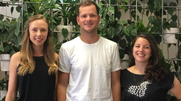 Investment platform Sharesies was co-founded by Brooke Anderson, left, Leighton Roberts and Sonya Williams to make ...