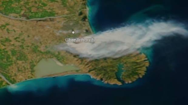 This satellite image taken Thursday morning shows the scale of the fire in the Port Hills.