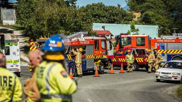Emergency services attend a chemical leak at the Tasman District Council transfer station.