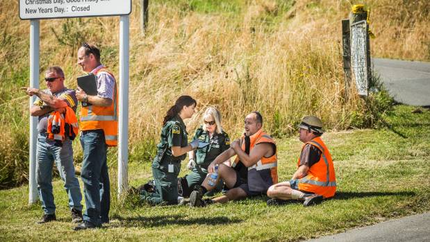Staff receive medical attention after a at the Tasman District Council's transfer station near Motueka.