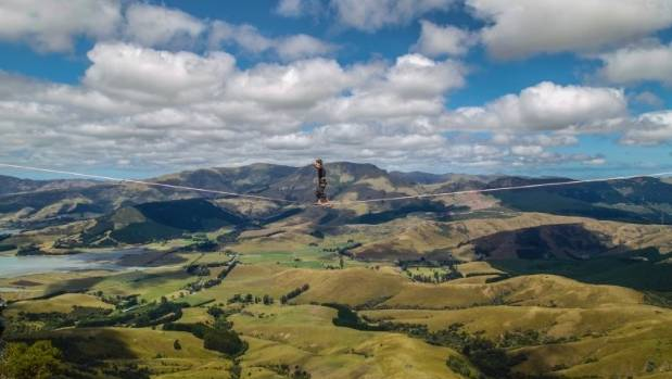 Slack-lining in the Port Hills, Christchurch's recreation zone for all kinds of activities.