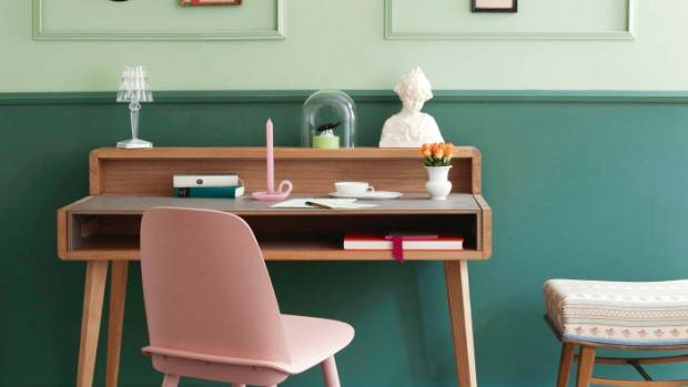 Use pink to accent dark green or blue.