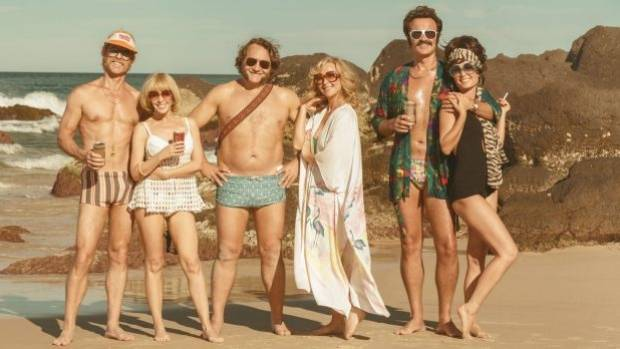 The seventies are back: (from left) Guy Pearce, Kylie Minogue, Jeremy Sims, Asher Keddie, Julian McMahon and Radha ...