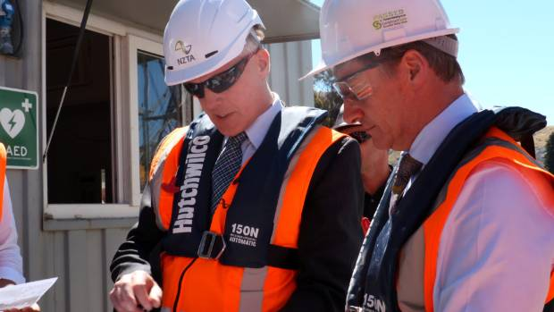 NZTA's Southern Business Unit Manager Ian Duncan with Prime Minister Bill English at the Kawarau Falls Bridge ...