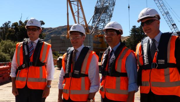 Clutha-Southland MP Todd Barclay, Prime Minister Bill English, Transport Minister Simon Bridges and NZTA's Southern ...