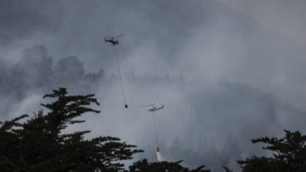 Helicopters drop water near the adventure park at Port Hill.