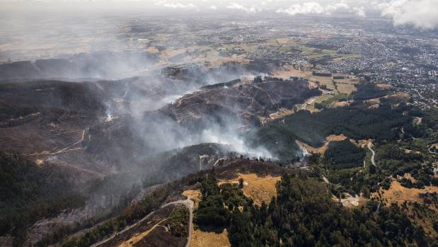The fire spread quickly into residential areas of the Port Hills on Wednesday.