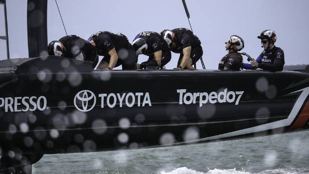 Team New Zealand's new cycling-style grinders go to work in early on-water testing of the new America's Cup catamaran.