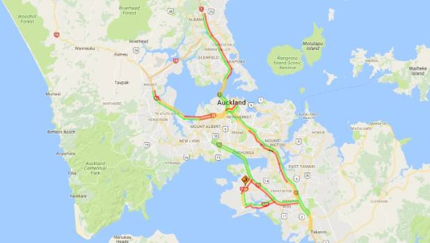 Traffic flows are heaviest on the Southern Motorway at Manukau, Wiri and Ellerslie, and hotspots around Dominion Road, ...