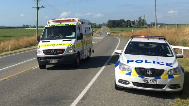 An ambulance heads away from the scene of a fatal crash on State Highway 1 in South Canterbury.