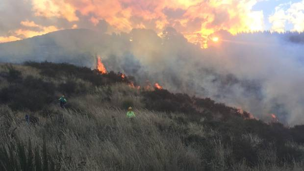 The Marleys Hill fire just starting at dusk on Monday about 7pm.