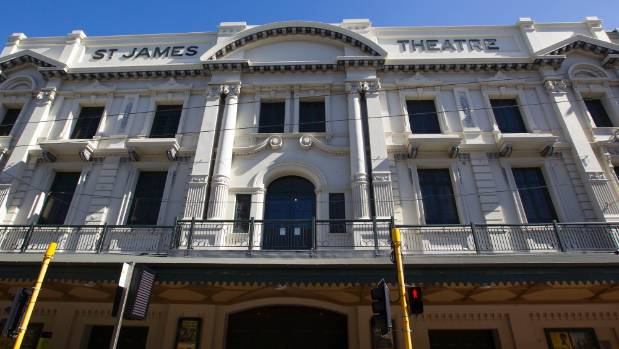 The yellow-stickered St James Theatre in Wellington will close for earthquake strengthening in 2018.