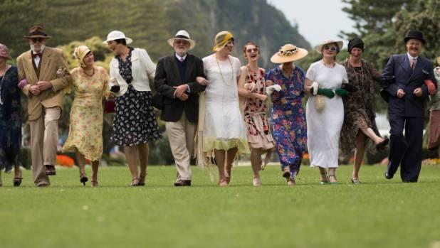 Revelers celebrate Napier's famous Art Deco weekend.