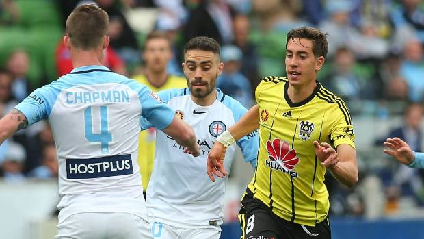 Wellington Phoenix midfielder Alex Rodriguez is surrounded by Melbourne City defenders when the two sides met on November 27.