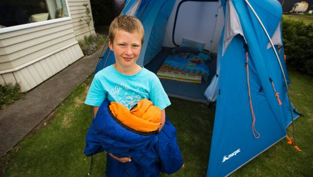 Jonty Skerman, 7, loves camping so much, he's become a Macpac tent tester.