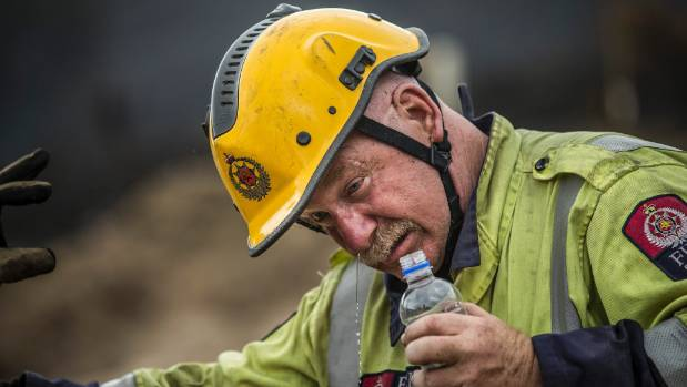 St Albans firefighter Keys Kerdemelidis-Kiesnowski has been working 24hr shifts on the during the fires on the Port ...