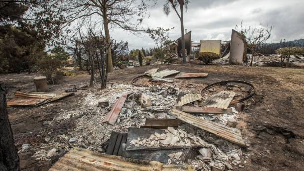 Burnt remains of properties that were lost to the recent fires on Worsley Rd, Port Hills, Christchurch.