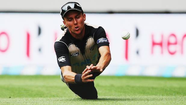 Black Caps bowler Trent Boult in action in the field.