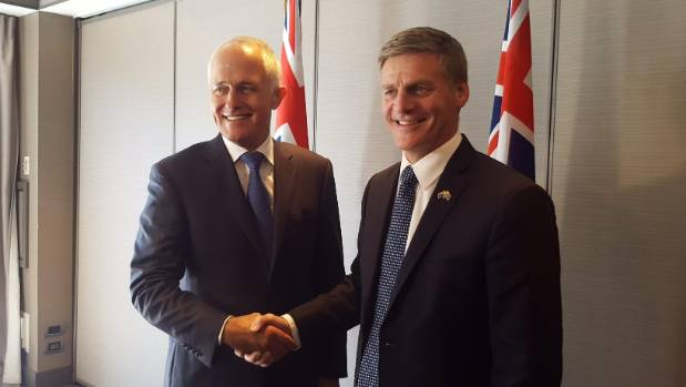 Australian Prime Minister Malcolm Turnbull meets with NZ PM Bill English in Queenstown.