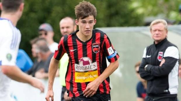 Teenager Sebastian Schacht makes a run during his first start for Canterbury United last week.