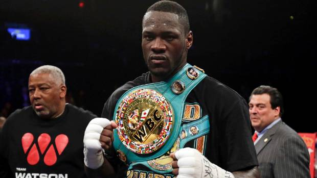 Deontay Wilder celebrates after knocking out Artur Szpilka in the ninth round of their heavyweight title boxing fight at ...