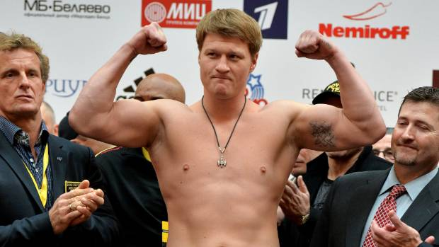 Alexander Povetkin poses during a weigh-in in Moscow, Russia in 2013.