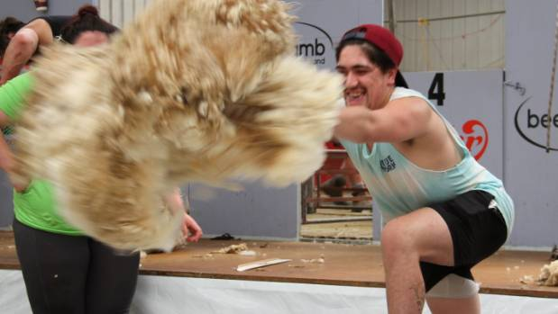 Nova Kumeroa-Elers of Mataura throws a fleece at the Southern Shears in Gore.