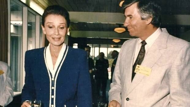 John Brooks, former Press sports editor, with film star Audrey Hepburn at a charity function in Christchurch in 1992.
