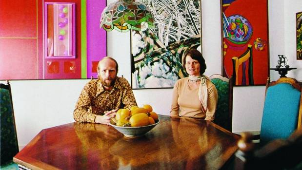 Warwick and Kitty Brown photographed for Art New Zealand, 1978. Pictured behind them are works by Don Driver, Robert ...