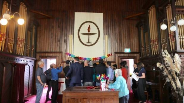 There were emotional scenes at the Unitarian Church on Wednesday.