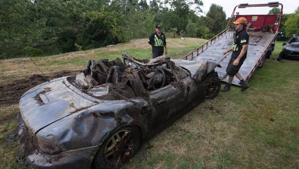 Four vehicles were pulled from the Waikato River at Hammond Park, Hamilton, on Friday afternoon.