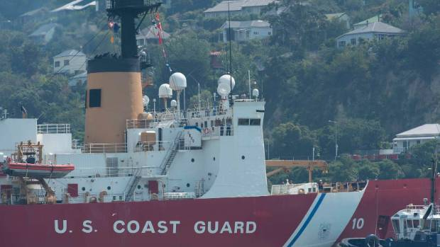 The US Polar Star, in Lyttelton this week, offered support with the Port Hills fires.