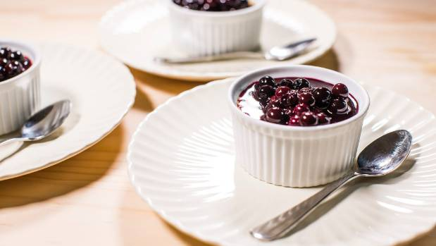 Recipe: Baked vanilla custard with blueberry compote | Stuff.co.nz