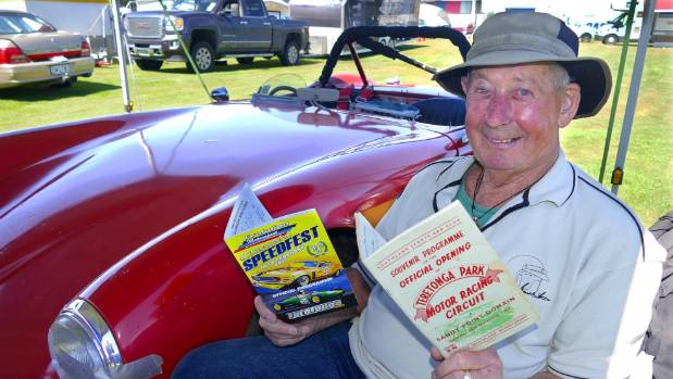 Doug McDonald, 85, with the 1957 Teretonga opening programme and his Alfa Romeo 750 Competizone car which he will race ...