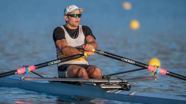 Nathan Cohen rowing for the Invercargill Rowing Club at New Zealand Rowing Championships.