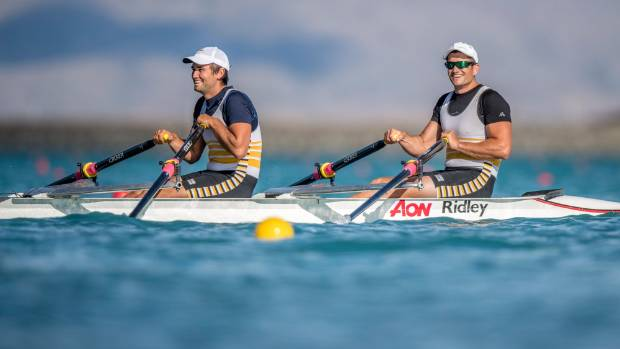 Hayden Cohen, left, and Nathan Cohen competing for the Invercargill Rowing Club in the premier double at the New Zealand ...