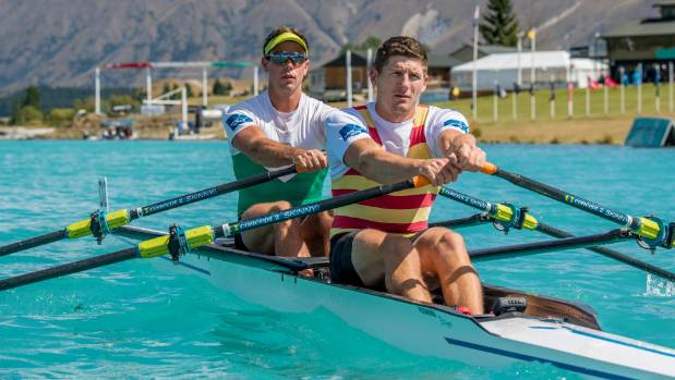 Central RPC rowers Robbie Manson, left and Chris Harris won the premier double sculls title in Twizel on Friday.