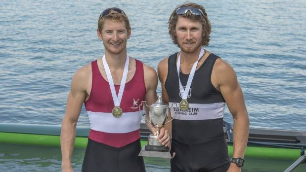 Jamie Hunter and Tom Murray celebrate gold medal success in the premier pair at the national rowing championships at ...
