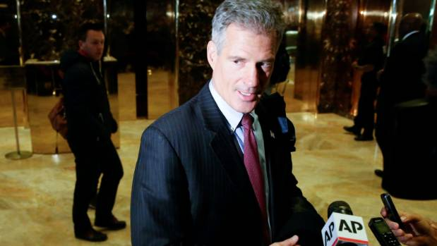 Former U.S. Senator from Massachusetts Scott Brown exits after meeting with U.S. President-elect Donald Trump at Trump ...