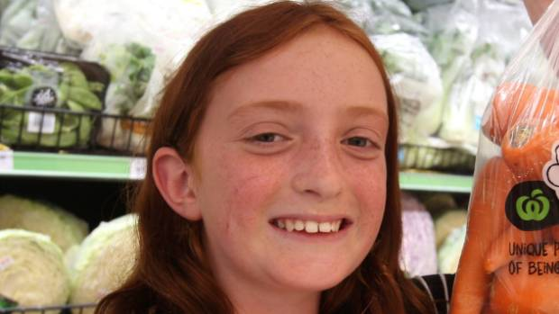 "Ava Sanders, 10, thought weird-shaped fruit ""looked more fun to eat then the regular ones""."
