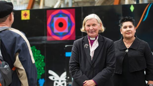 Victoria Matthews, Bishop of Christchurch, and Moka Ritchie, a trustee of Church Property Trustees, photographed on Sunday.