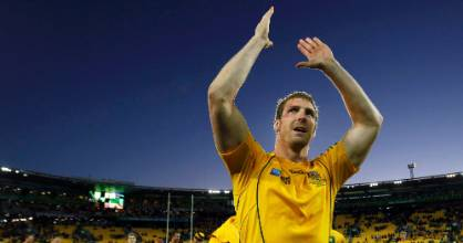 Dan Vickerman acknowledges the crowd after Australia won their 2011 Rugby World Cup quarterfinal match against South ...