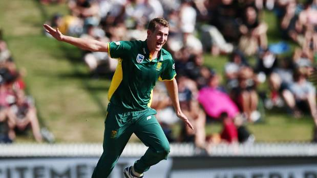 Chris Morris of South Africa proved a handful for New Zealand at Seddon Park in Hamilton.