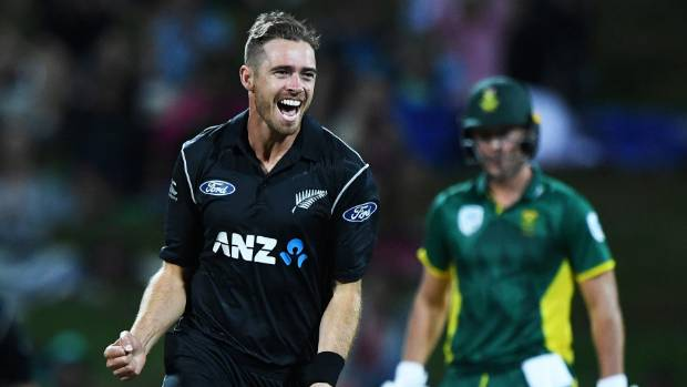 NZ's  Tim Southee celebrates the wicket of South Africa's Farhaan Behardien.