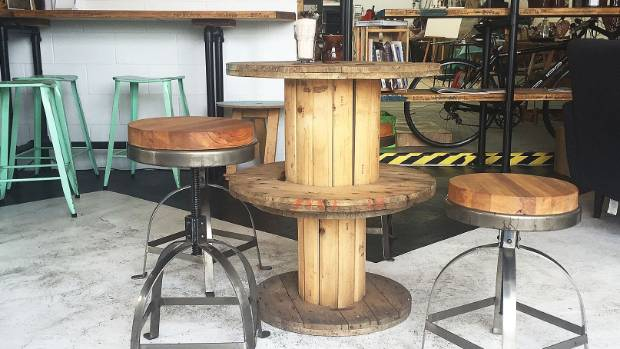 The industrial chic decor gives the cafe a cool vibe.
