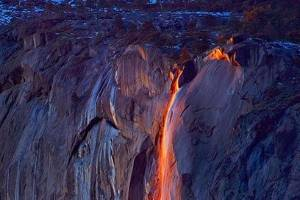 It's an optical illusion that only occurs briefly every year, where flowing water glows like lava.